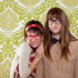 Funny humor nerd couple on vintage wallpaper — Stock Photo #9859526