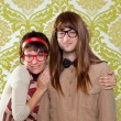 Funny humor nerd couple on vintage wallpaper — Stock Photo #9859550