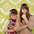 Funny humor nerd couple on vintage wallpaper - ストック写真