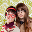 Funny humor nerd couple on vintage wallpaper — Stock Photo #9859630