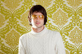 Retro man vintage glasses and turtleneck sweater — Stock fotografie