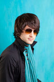 British indie pop rock look retro hip young man — Stock Photo