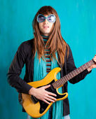 Humor retro vintage hip heavy seventies guitar playe — Stock Photo