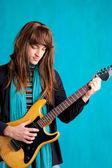 Hard rock seventies electric guitar player man — Stock Photo