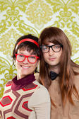 Funny humor nerd couple on vintage wallpaper — Stock Photo