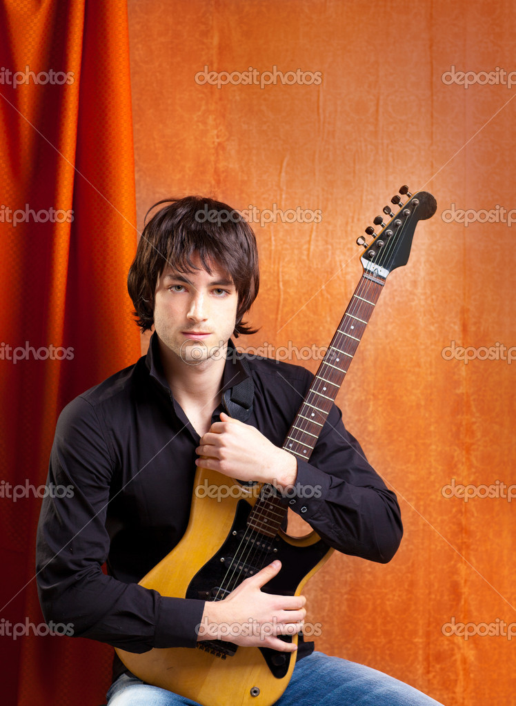 British indie pop rock look young musician guitar player man  Stock Photo #9858862