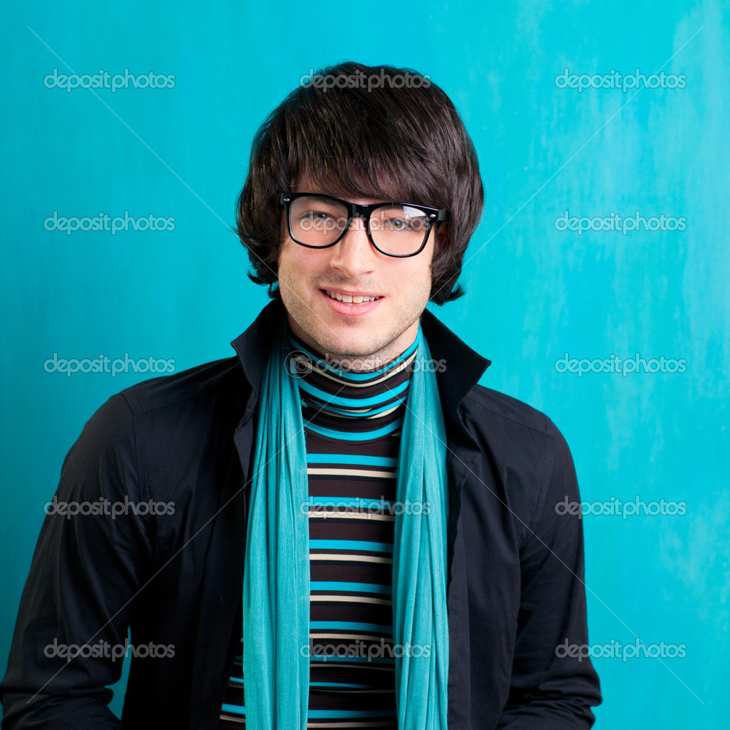 Nerd retro british indie look with handkerchief and vintage glasses — Stock Photo #9859302