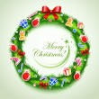 Christmas wreath with gifts - Stock Vector