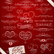 Decorative elements on Valentine's Day — Stockvectorbeeld