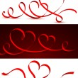 Red tape in the form of hearts. — Imagens vectoriais em stock
