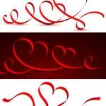 cinta roja en forma de corazones — Vector de stock