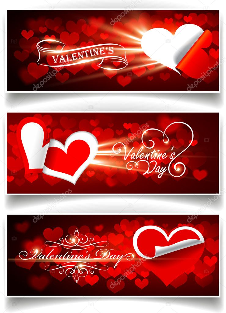 Banners on Valentine's Day. Vector illustration — Stock Vector #8506331