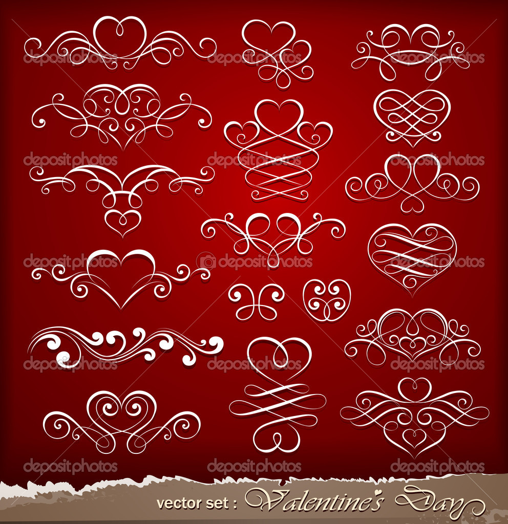 Collection of decorative elements to Valentine's Day. Vector illustration — Stock Vector #8739227