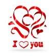 Red ribbon hearts — Stock Vector