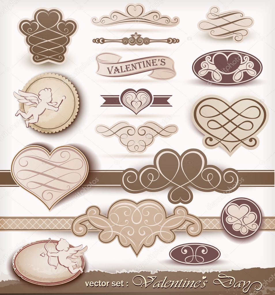 Collection of decorative elements to Valentine's Day. Vector illustration — Stock Vector #8969412