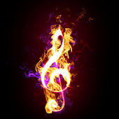 Flaming treble or G clef — Stock Photo