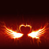 Fiery heart with wings — Stock Photo