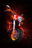 Bike in flames — Stock Photo