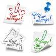 Paper notes with push pin and paperclip — Stock Vector