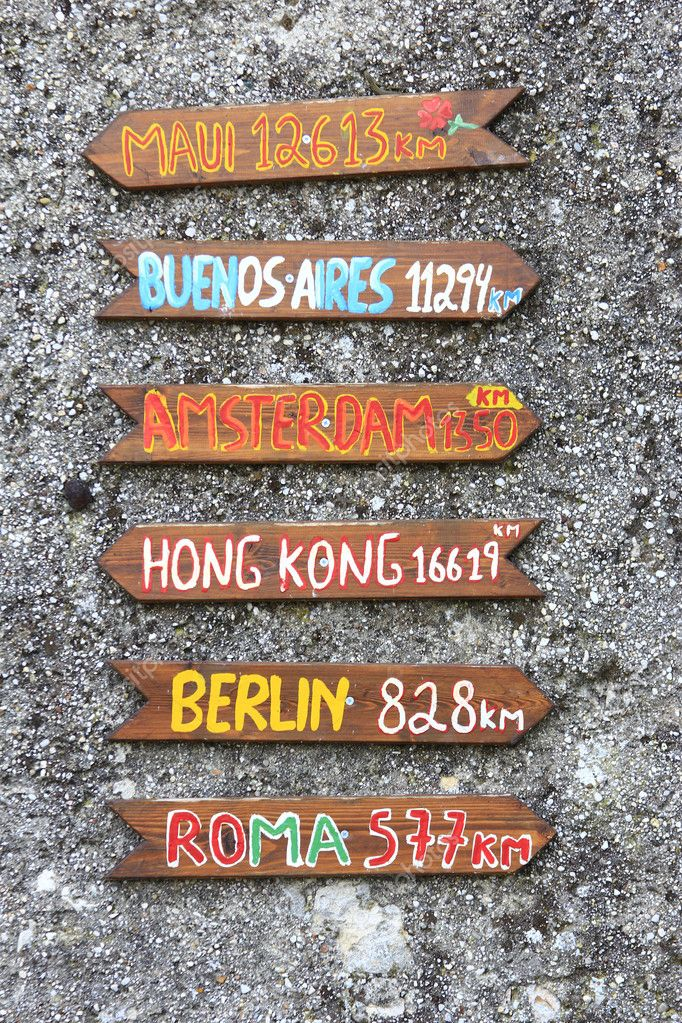 Colorful signposts to citys around the world — Stock Photo #10018685