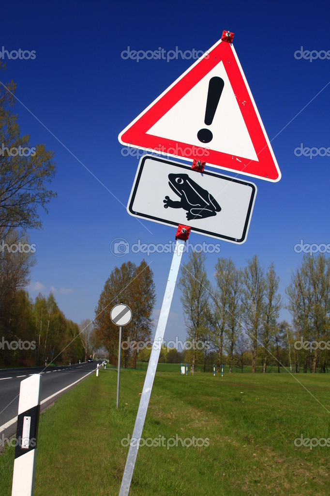 Road sign: Caution frogs! on a road in Germany — Stock Photo #10160888