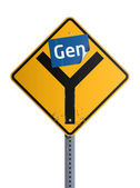 Gen Y roadsign — Stock Vector