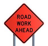 Panneau - Road work ahead — Stock Vector