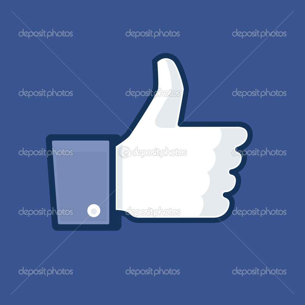 Thumb Up version 3 on blue background — Stock Vector #10690022