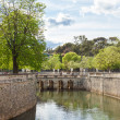 Les Jardin de la fontaine  - Fountain garden  in Nimes - Stock Photo