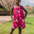 Outdoor portrait of a cute african american little girl — Stock Photo