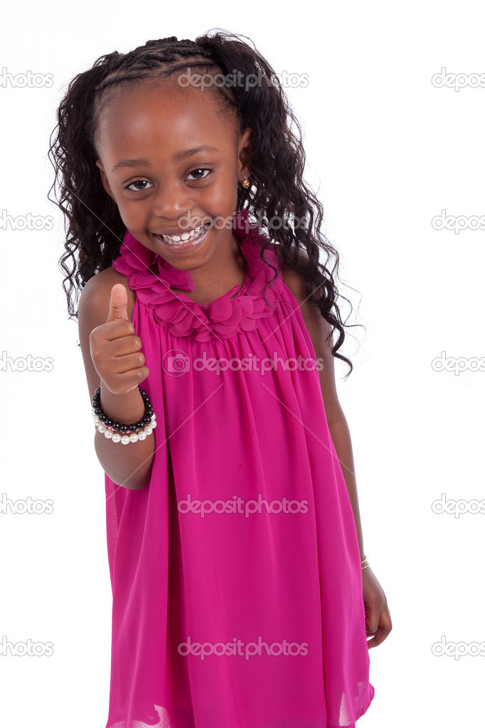 Little african american girl  making thumbs up, isolated on white background — Stock Photo #8625591