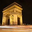 Arc de Triomphe - Arch of Triumph by night in Paris, France — Stock Photo