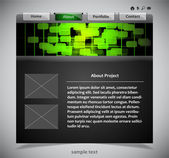 Website template in black and green colors — Stock Vector