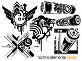 Techno elements SEVEN — Stock Vector