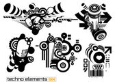 Techno elements SIX — Stock Vector