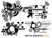Techno elements ZERO — Stock Vector