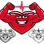 Strong heart cartoon character — Stock Vector
