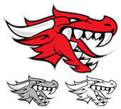 赤いドラゴン ヘッド — ストックベクタ