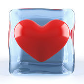 Red heart in ice cube — Stock Photo