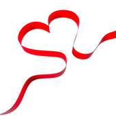Heart from red ribbon — Stockfoto
