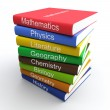 Coloured textbooks, built in a pile — Stock Photo