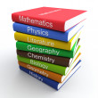 Coloured textbooks, built in pile — Stock Photo #8674788