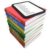 E-book and textbooks — Stock Photo