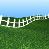White fence and green grass — Stock Photo