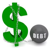 Dollar sign connected in a chain of debt — Stock Photo