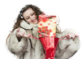 Girl with a gift — Stock Photo