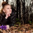 Girl with snowdrops — Stock Photo #9841431