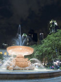 Illuminated Water Fountain at Night — Foto Stock