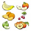 Drawing set of different color fruits - Stock Vector