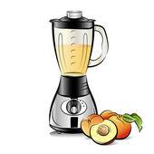 Batidora de cocina color dibujo con zumo de melocotón — Vector de stock